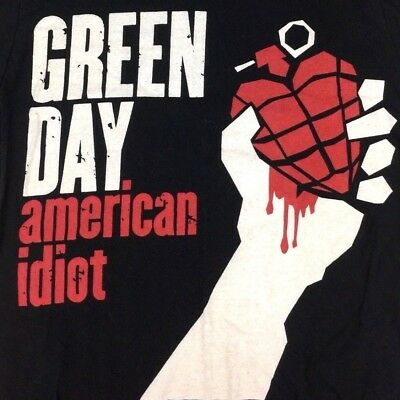 Green Day American Idiot Large Graphic Tour Concert Rock Black T-Shirt Size M