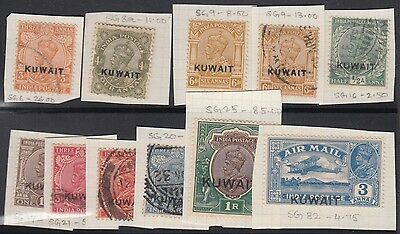 KUWAIT G V OVERPRINT ON INDIA MINT W/ USED 11 STAMPS ON CARD INCL. RARE 1Re SG25