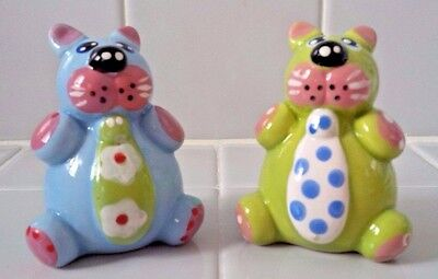 Adorable Blue & Green Chubby Kitty Cats Ceramic Salt & Pepper Shakers