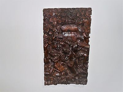 Vintage Large Traditional Balinese Wood Panel Carving