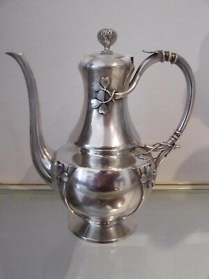 Gorgeous & rare 1900 french sterling silver coffee pot art nouveau clovers