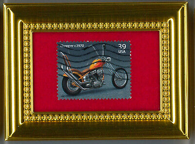 The Orange County Chopper  Motorcycle - A Glass Framed Postage Masterpiece