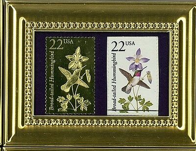 Brilliant Hummingbird A Pcs Framed 22K Gold Reflection & Fdc Postmarked Original