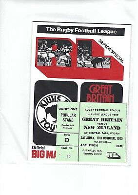 GREAT BRITAIN v NEW ZEALAND 1st TEST Central Park Wigan 1980 Ticket + programme