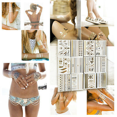 12 Sheets Flash Temporary Metallic Tattoos Jewelry Inspired in Gold and Silver