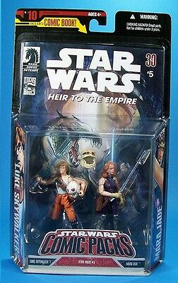Luke + Mara Jade  Star Wars Comic Packs Action Figures + Star Wars Comic Book #5