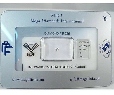 Diamante Brillante Certificato Igi Blister Carati 0,116 Ct Colore G Purezza Vs