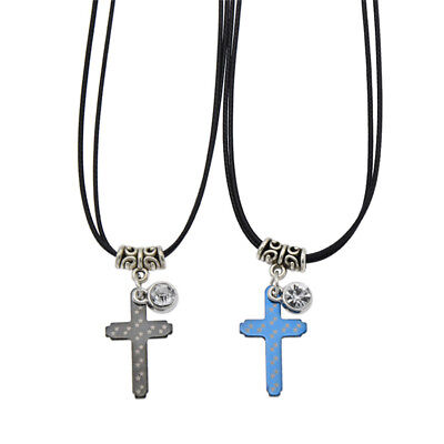 1 Pair Couples Cross Pendant Necklace Black Leather Strap Jewelry Fashion