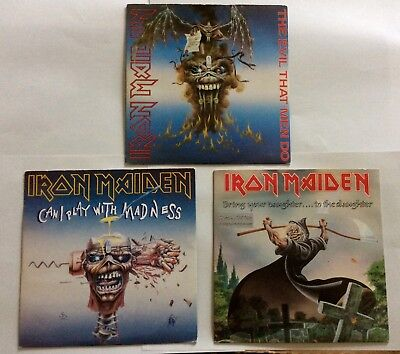 "IRON MAIDEN 3 x 7"" Vinyl Singles Bring Your Daughter to the Slaughter ETCHED"