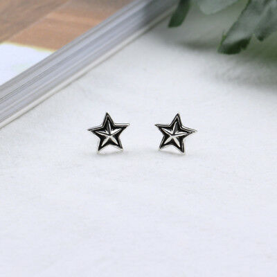 Fashion Antique S925 Sterling Silver Five-pointed Star Stud Earring Vintage Gift