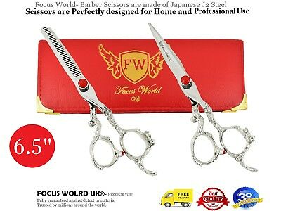 Professional Dragon Hairdressing Barber Scissors Set Right handed red diamond