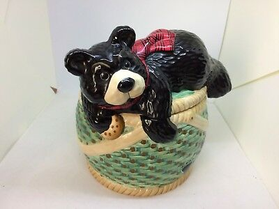 Youngs Heartfelt Kitchen Creations Canister Cookie Jar Bear on a Basket