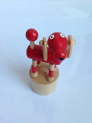 RARE! Wooden DOG Figurine, Press Button Push Puppet, Collapsing