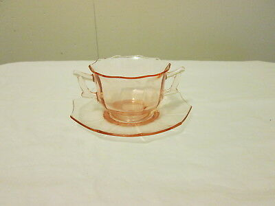 Cambridge Decagon Pink Bouillon Cup with Underplate