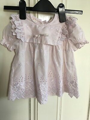 Vintage Broderie Anglaise Baby Girls Angel Dress Pink Age 9-12 Months
