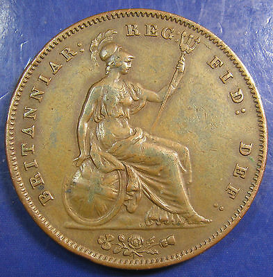 1858/7 Victoria copper Penny: with WW, Gouby D, high grade