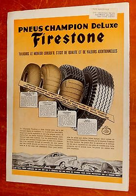 French 1946 Firestone Champion Deluxe Tires Canadian Ad + Vintage 40S Automotive
