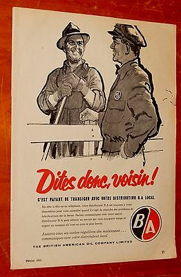 French 1958 Canadian B & A Gas Stations Ad - Vintage 50S Retro British American