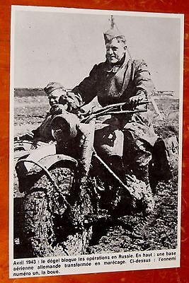 World War Ii Picture German Soldier With Motorcycle In Mud In 1943 - Vintage