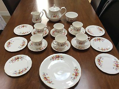 Tea set queen anne floral roses red/pink/yellow plates cups saucers teapot jug