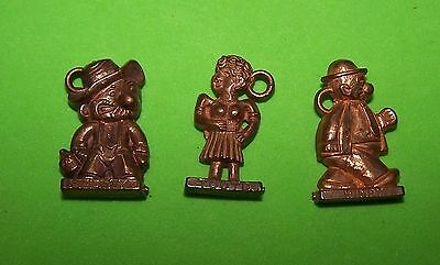 1940,s WIMPY, TOOTS, AND SNUFFY SMITH GUMBALL OR CRACKER JACK METALLIC CHARMS