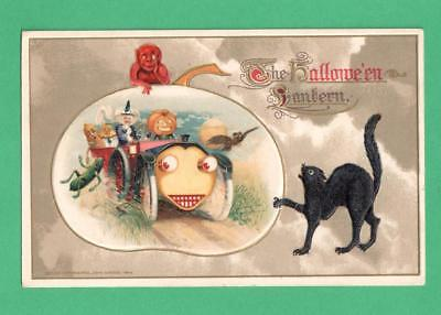 1914 Winsch Halloween Postcard Witch Car Jol & Gourd-Folks Devil Black Cat Moon