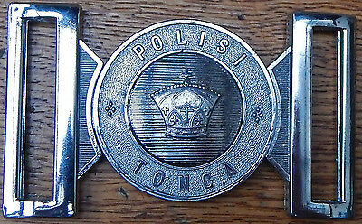 Royal Kingdom of TONGA POLICE Belt BUCKLE QE2 Type by Hobson & Co. London UK