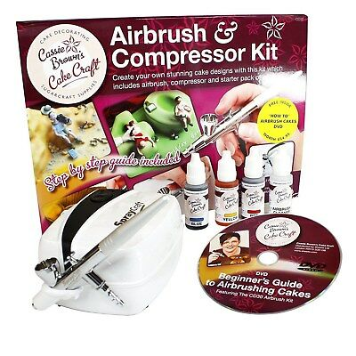 Cassie Brown Cake Craft Cake Decorating Airbrush & Compressor Kit BASICALLY NEW