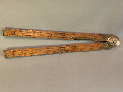 """Vintage Rabone No. 1190 Folding Ruler Level Compass Made in England 24"""" 4 fold"""