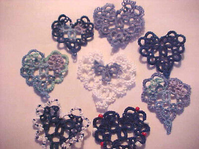 Tatted Hearts (9) Blue Tatting Scrapbooks Crazy Quilts Applique Cards Earrings