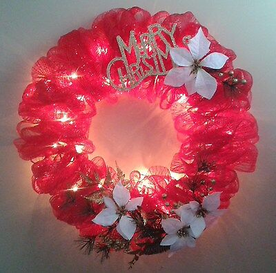 Christmas Wreath Deco Mesh Sturdy Wire Form Hand Made Lighted Plug in 21 in