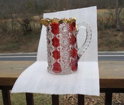 """EAPG CLEAR with RUBY STAIN    """"GLORIA""""    LARGE HANDLED WATER PITCHER"""