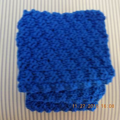 ROYAL BLUE QUALITY YARN FROM PERU  HAND KNITTED FACE CLOTH or DISH CLOTH