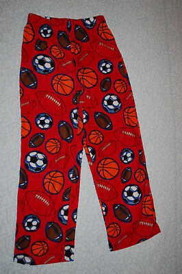 Boys Pajama Bottoms RED FLANNEL Sports BASKETBALL SOCCER Sleep Lounge Pants M 8