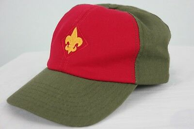 Vintage Boy Scouts Adjustable Baseball Hat Cap Twill M/L Made In USA cub BSA