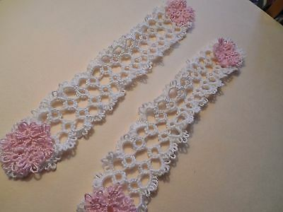 Tatted Bookmark White with 2 Pink Flowers Lacey New Tatting by Dove Country