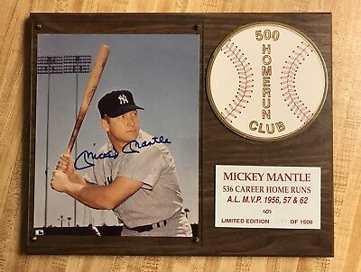 Mickey Mantle Autographed Plaque 500 Homerun Club COA Signed