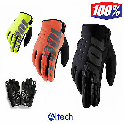 100% Brisker Warm Winter MX Motocross Gloves Cold Weather Thermal S M L XL XXL