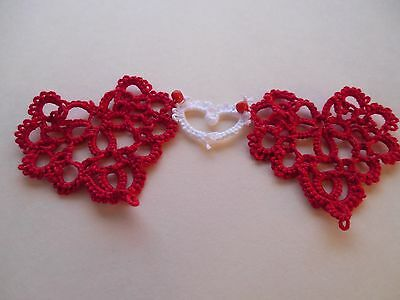 Tatted Bookmark 2 Red & 1 Small White Hearts Lacey New Mother's Day Tatting