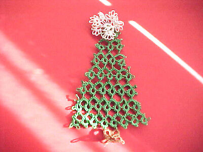"Tatted  Christmas Tree by Dove Country Tatting 5"" Tall Gift Tag Decoration Ornie"