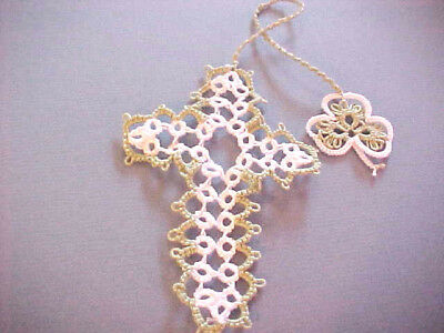 2 Tatted Bookmark Cross Shamrock Green and White Lacey Gift Dove Country Tatting