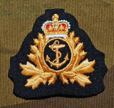 Royal Canadian Navy Rcn Naval Operations Cloth Embroidered Cap Badge Capbadge