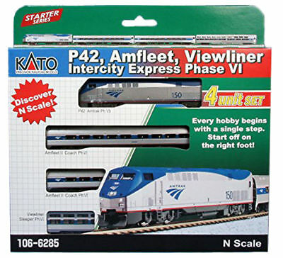 Kato N Scale Amtrak Phase VI Viewliner Innercity Express Loco +3 Car Set 1066285