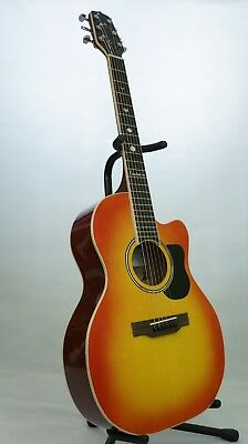 Handmade Folk Acoustic Guitar in sunburst gloss finish with real shell inlays