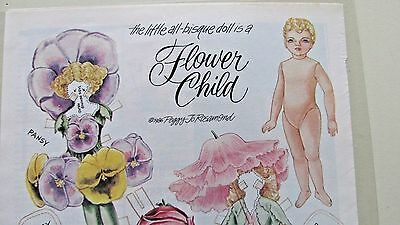 Vintage Flower Child Paper Doll & Costumes By Peggy Jo Rosamond - Uncut -1986