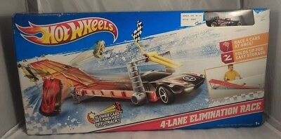 Hot Wheels 4-Lane Elimination Race Trackset (NIB) - X2592  Small puncture on box