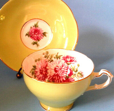 Adderley Pale Lime Green Teacup & Saucer Large Pink Aster Mum Tea Cup & Saucer