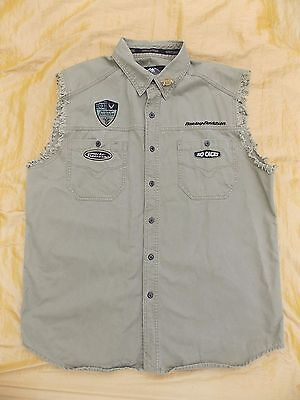 Harley Davidson Men's XL Vest  Ragged Edge Lt. Olive Patches No Cages Pin