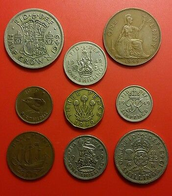 68th Birthday 1949 George VI British Pre-Decimal Coins Set in Prot Wallet
