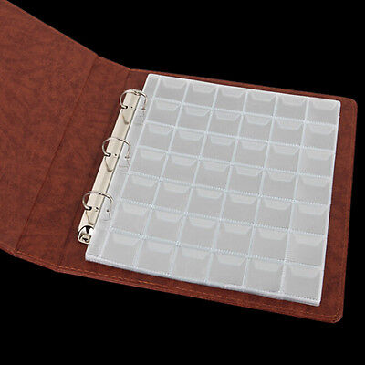 5 Pages 42 Pockets Plastic Coin Holders Storage Collection Money Album Case ZP